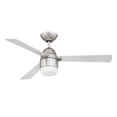 42 Schreffler 3-Blade Ceiling Fan with Remote Finish: Satin Nickel with Silver Blades