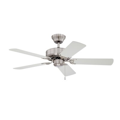 42 Builders Choice 5-Blade Ceiling Fan Finish: Satin Nickel with Silver / White Blades
