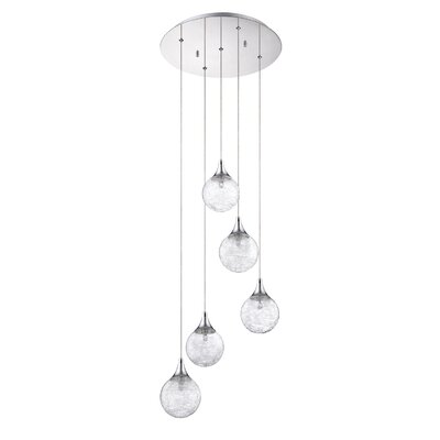 Chesterton 5-Light Glass Shade Cascade Pendant