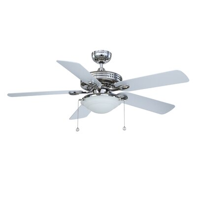 52 Builders Choice 5-Blade Ceiling Fan Finish: Polished Nickel with Silver Blades