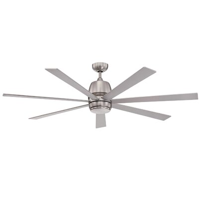 60 Sixty-Seven 7 Blade Ceiling Fan with Wall Remote Finish: Satin Nickel with Silver Blades