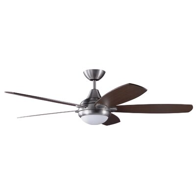 52 Espirit 5-Blade Ceiling Fan with Wall Remote Finish: Satin Nickel with Walnut Switch Blades
