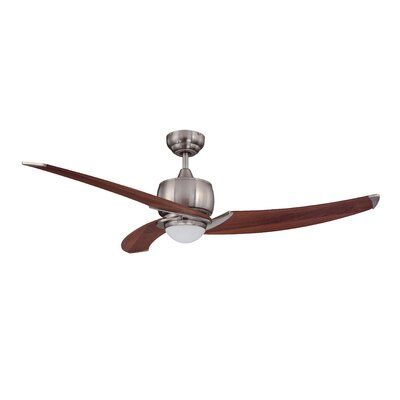 52 Treo 3-Blade Ceiling Fan with Wall Remote Motor Finish With Blade Finish: Satin Nickel with Royal Walnut Blades