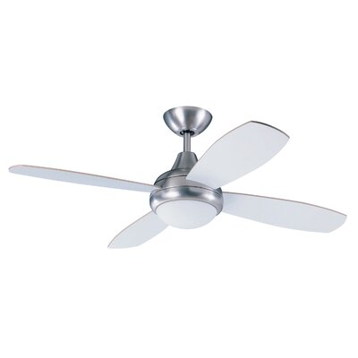 42 Lilla 4-Blade Ceiling Fan with Remote Finish: Satin Nickel with Maple / White Blades