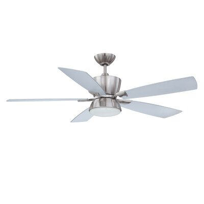 52 Avalon 5-Blade Ceiling Fan with Wall Remote Finish: Satin Nickel with Silver Blades