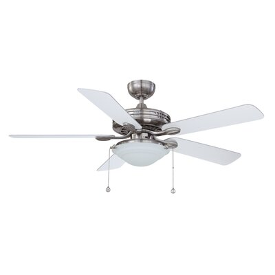 52 Builders Choice 5-Blade Ceiling Fan Finish: Satin Nickel with Silver / White Blades