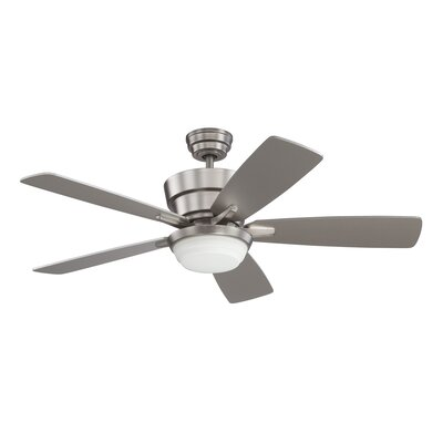 44 Barcelona 5-Blade Ceiling Fan with Wall Remote Finish: Satin Nickel with Silver Blades