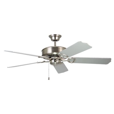 52 Excellence 5-Blade Ceiling Fan Finish: Satin Nickel with Silver Blades
