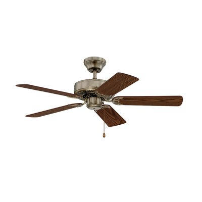 42 Builders Choice 5-Blade Ceiling Fan Finish: Antique Brass with Light / Medium Oak Blades