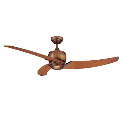 52 Treo 3-Blade Ceiling Fan with Wall Remote Motor Finish With Blade Finish: Architectural Bronze with Elmwood Blades