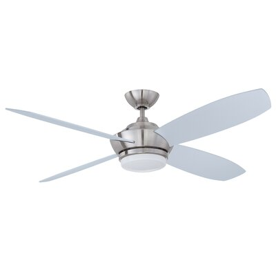 52 Zeta 4-Blade Ceiling Fan with Wall Remote Finish: Satin Nickel