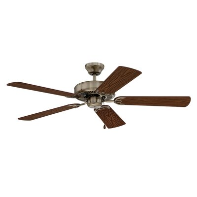 52 Builders Choice 5-Blade Ceiling Fan Finish: Antique Brass with Light / Medium Oak Switch Blade