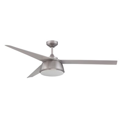 60 Nebulon 3-Blade Celling Fan with Wall Remote Finish: Satin Nickel