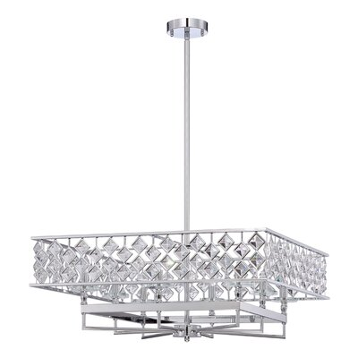 Milano 8-Light Crystal Pendant Size: 96 H x 26 W x 26 D