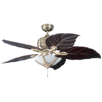 52 Copacabana 5-Blade Ceiling Fan Motor Finish With Blade Finish: Havana Brass with Oak Blades