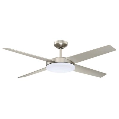 52 Lopro 4-Blades Ceiling Fan with Remote Finish: Satin Nickel