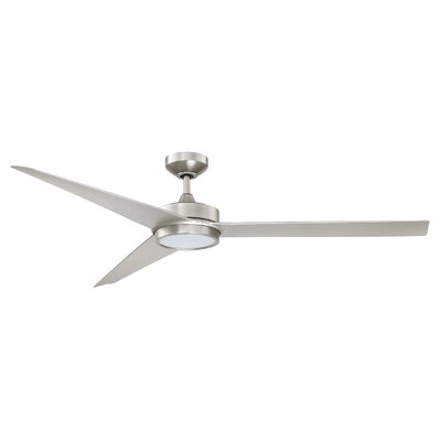 60 Triceptor 3-Blade Ceiling Fan with Remote Finish: Satin Nickel