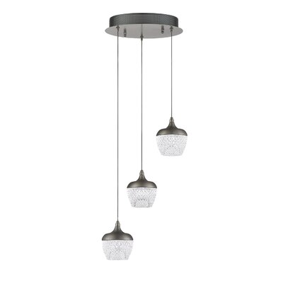 Villegas 3-Light LED Cluster Pendant Finish: Black Stainless
