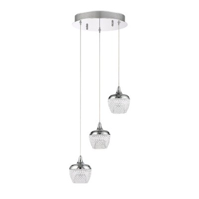Villegas 3-Light LED Cluster Pendant Finish: Chrome