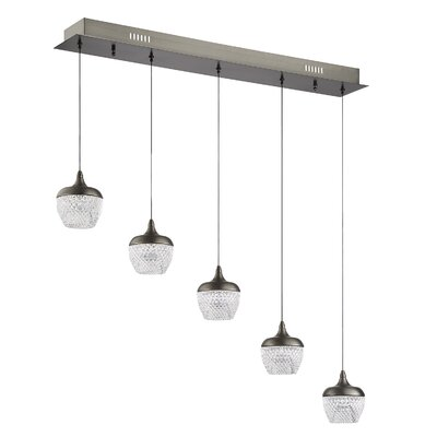 Villegas 5-Light LED Kitchen Island Pendant Finish: Black Stainless