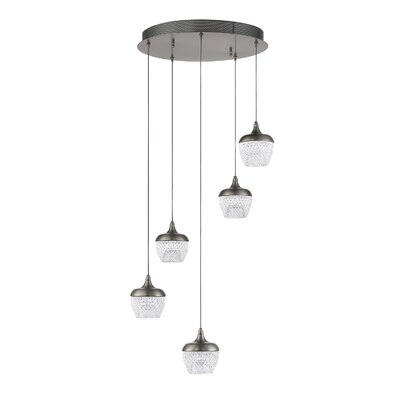 Villegas 5-Light LED Cluster Pendant Finish: Black Stainless