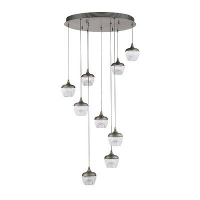 Villegas 9-Light LED Cluster Pendant Finish: Black Stainless