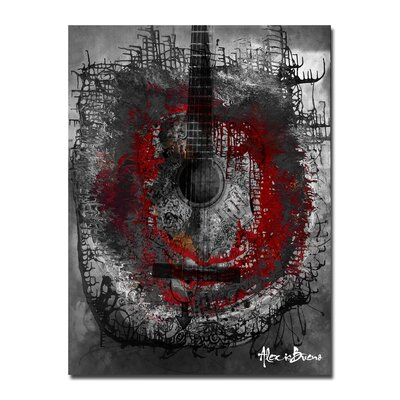 Oversized Abstract'Acoustic Guitar' Print of Painting on Canvas BX11-GWC3040