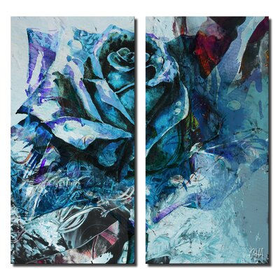 'Painted Petals XXXIX' by Ready2HangArt 2 Piece Graphic Art on Canvas Set Size: 24'' H x 24'' W x 1.5'' D PP39-GWC2412DP