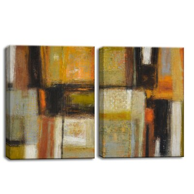 2 Piece 'New Earth I/II' by Norman Wyatt Jr. Painting Print on Wrapped Canvas Set Size: 32