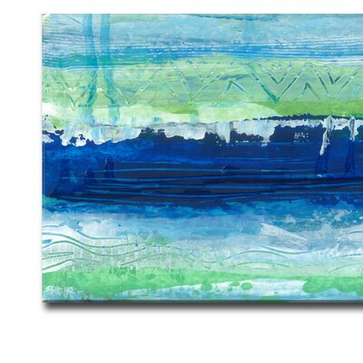 'Tropical Deep Sea' Acrylic Painting Print on Canvas in Blue Size: 20