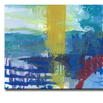 'Primary Underwater Oasis' Acrylic Painting Print on Canvas in Blue Size: 20