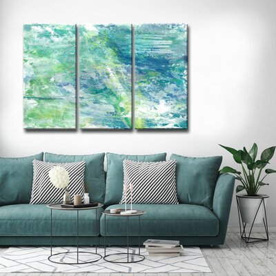 'Cool Aqua Ocean Reef' Acrylic Painting Print Multi-Piece Image on Canvas Size: 24