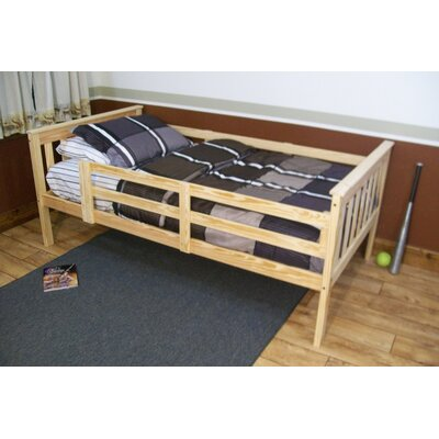 Slat Bed Size: Twin Mission Bed w/Safety Rails, Bed Frame Color: Unfinished