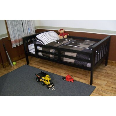 Slat Bed Size: Twin Mission Bed w/Safety Rails, Bed Frame Color: Black