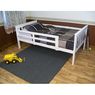 Slat Bed Bed Frame Color: White, Size: Full Mission Bed w/Safety Rails