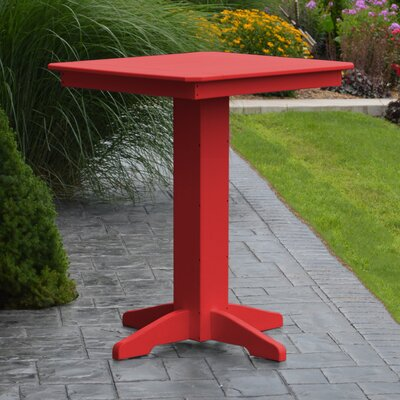 Nettie Bar Table Color: Bright Red, Table Size: 33 L x 33 W