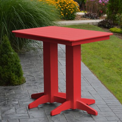 Nettie Bar Table Color: Bright Red, Table Size: 72 L x 33 W