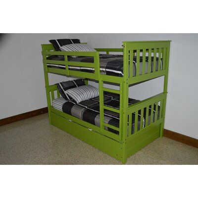 Mission Bunk Bed Size: Twin Over Full Mission Bunkbed, Bed Frame Color: Lime