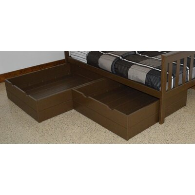 2 Piece Underbed Storage Drawer Set Size: Twin, Color: Coffee