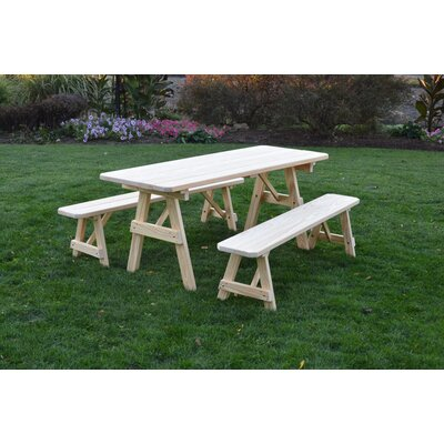 Seward Pine Picnic Table with 2 Benches Finish: Unfinished