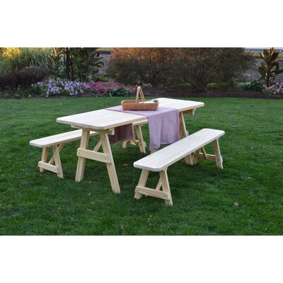 Smyrna Pine Traditional Picnic Table with 2 Benches Finish: Unfinished