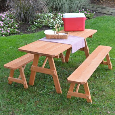 Roseboom Pine Traditional Picnic Table with 2 Benches Finish: Cedar Stain