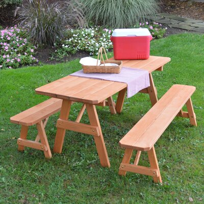 Mccormick Pine Traditional Picnic Table with 2 Benches Finish: Cedar Stain