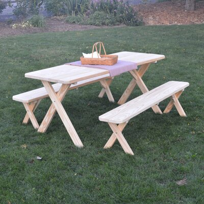 Saratoga Pine Cross-leg Picnic Table with 2 Benches Finish: Unfinished