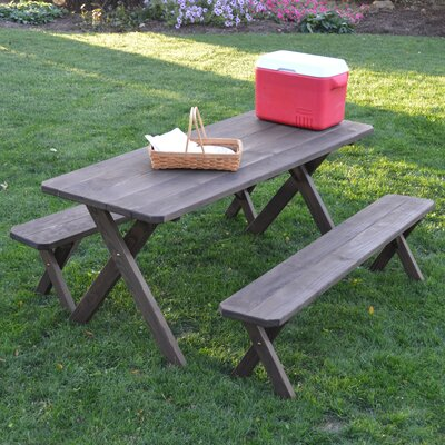 Sherburne Pine Cross-leg Picnic Table with 2 Benches Finish: Walnut Stain