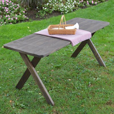 Roland Pine Cross-leg Picnic Table Finish: Walnut Stain