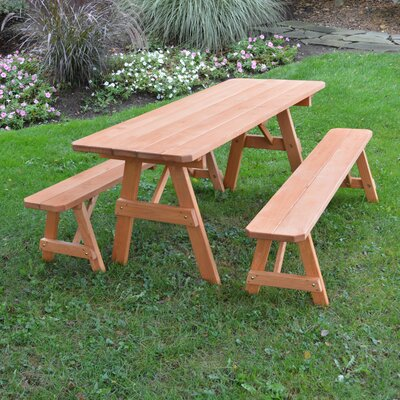 Summerhill Pine Picnic Table with 2 Benches Finish: Cedar Stain