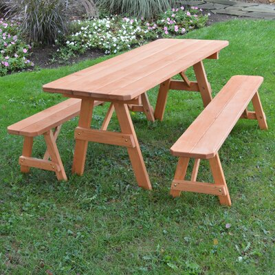 Seward Pine Picnic Table with 2 Benches Finish: Cedar Stain