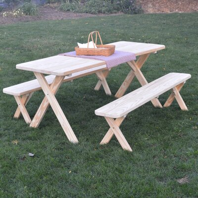 Zirkel Pine Cross-leg Picnic Table with 2 Benches Finish: Unfinished