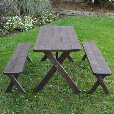 Starkey Pine Cross-leg Picnic Table with 2 Benches Finish: Walnut Stain